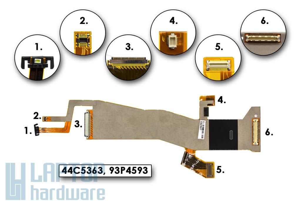 Lenovo Thinkpad T400, R400 gyári új laptop LCD kábel (kamera csatlakozó nélkül) (44C5363, 93P4593)