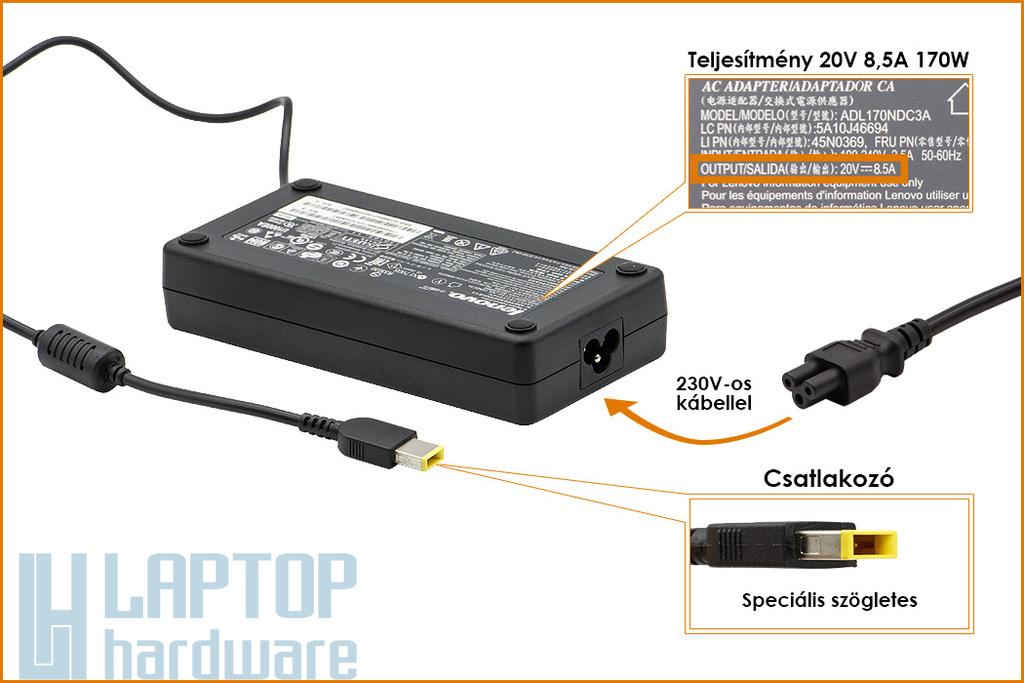 Lenovo ThinkPad T440p, E440, L450, 20V 8.5A 170W gyári új laptop Slim töltő (FRU 45N0558, 45N0373)