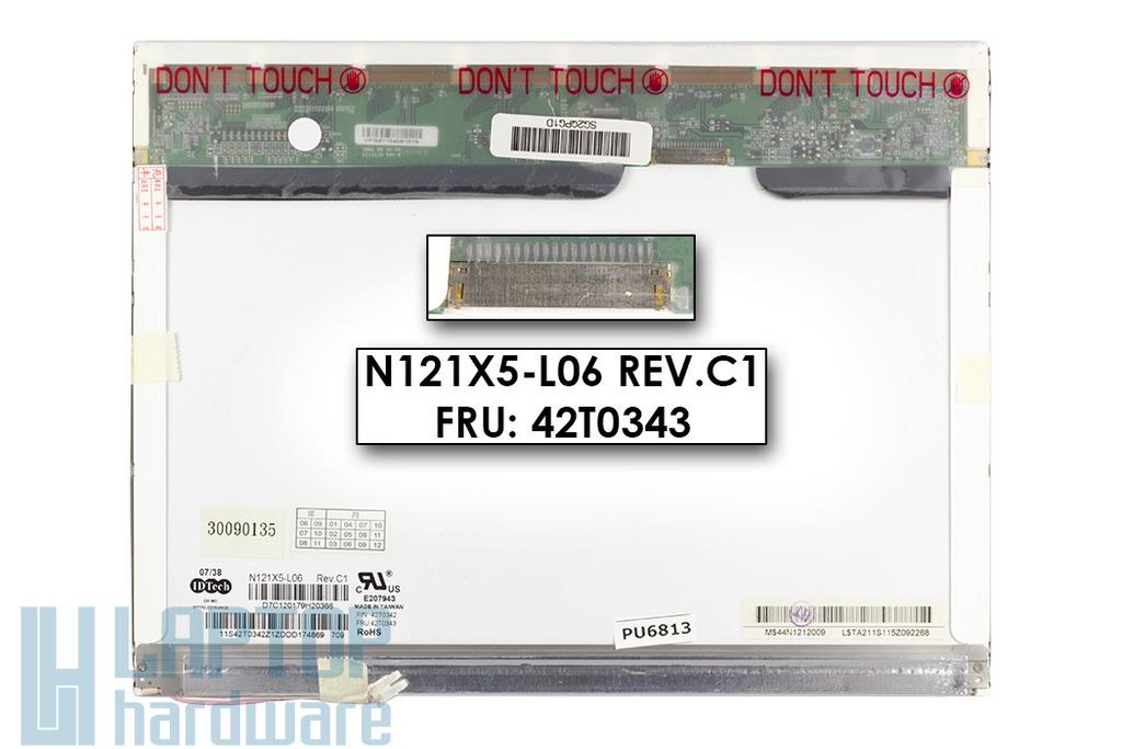Lenovo ThinkPad X60, X61 12.1 inches N121X5-L06 használt matt laptop kijelző, 42T0343