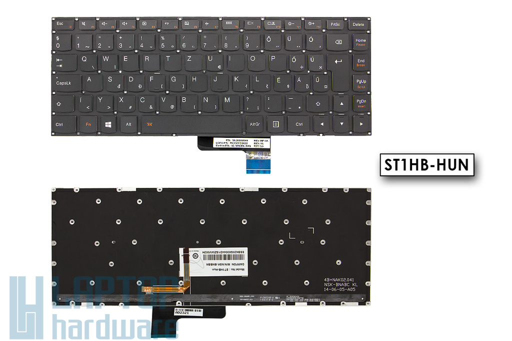 Lenovo Yoga 3-14 gyári új magyar fekete háttér-világításos keret nélküli laptop billentyűzet (PK130YC3A22)