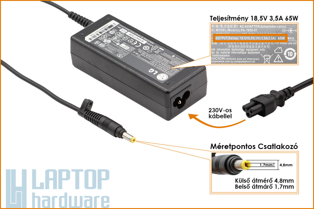 LG 18.5V 3.5A  65W gyári új laptop töltő ( PA-1650-01)