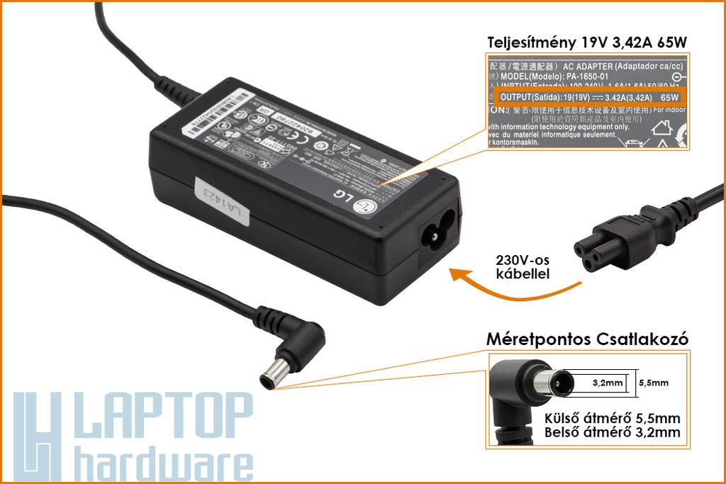 LG 19V 3.42A (center pin) 65W gyári új laptop töltő (PA-1650-01)