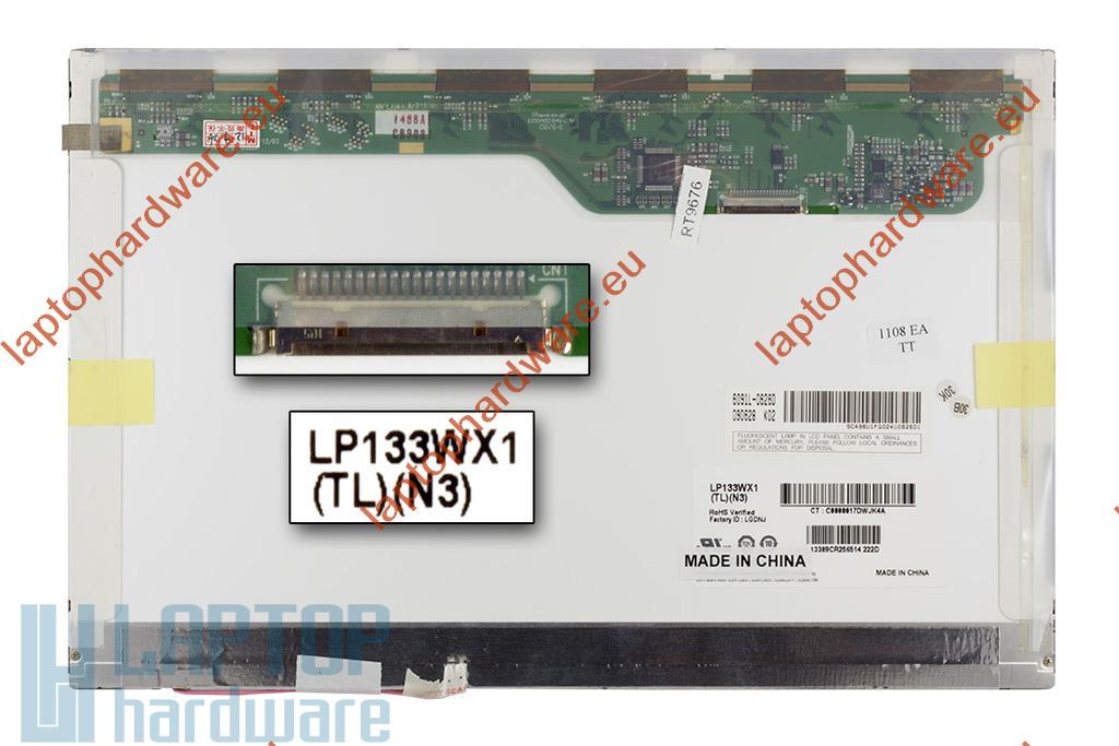 LG LP133WX1-TLN3 WXGA CCFL fényes 13,3 inch használt laptop LCD kijelző (20 pines)