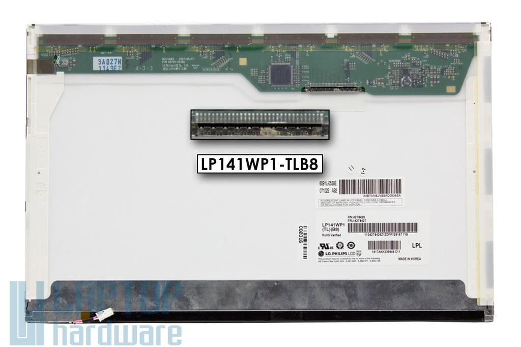 LG LP141WP1-TLB8 használt matt B kategóriás 14.1'' (1440x900) CCFL kijelző Lenovo ThinkPad T61 laptopokhoz (csatlakozó: 30 pin - jobb felül)
