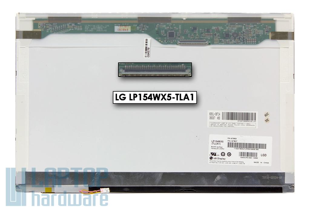 LG LP154WX5-TLA1 használt fényes 15.4'' (1280x800) CCFL kijelző Lenovo ThinkPad T60, T500 laptopokhoz (FRU 42T0627, 42T0753) (csatlakozó: 30 pin - jobb felül)
