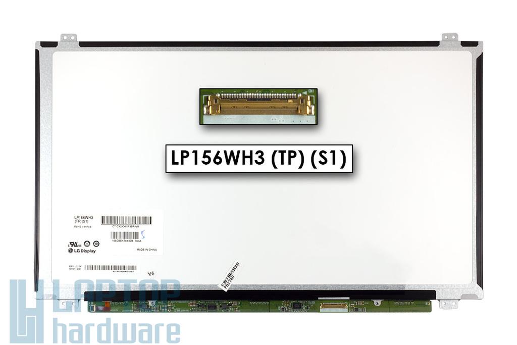 LG LP156WH3-TLSA HD SLIM LED eDP használt B kategóriás (1 pixel hiba) fényes laptop kijelző