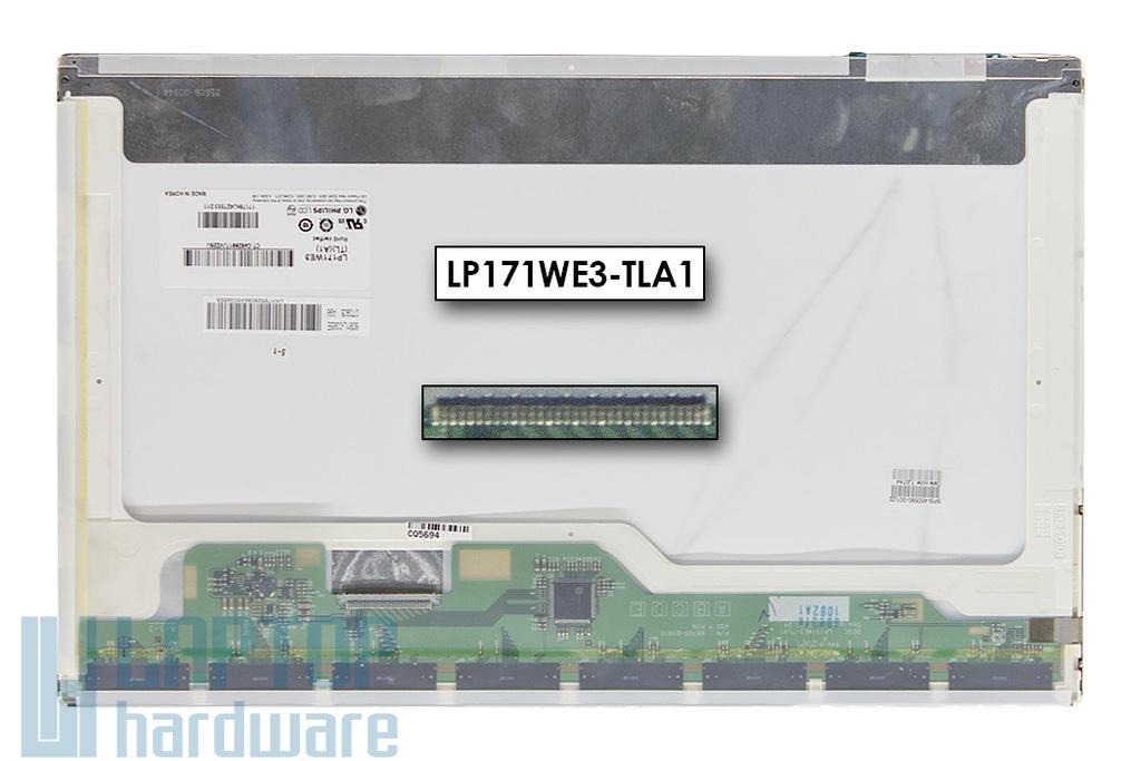 LG LP171WE3-TLA1 használt matt 17.1'' (1680x1050) CCFL kijelző HP Compaq 8710p, 8710w laptopokhoz (450580-001) (csatlakozó: 30 pin - bal)