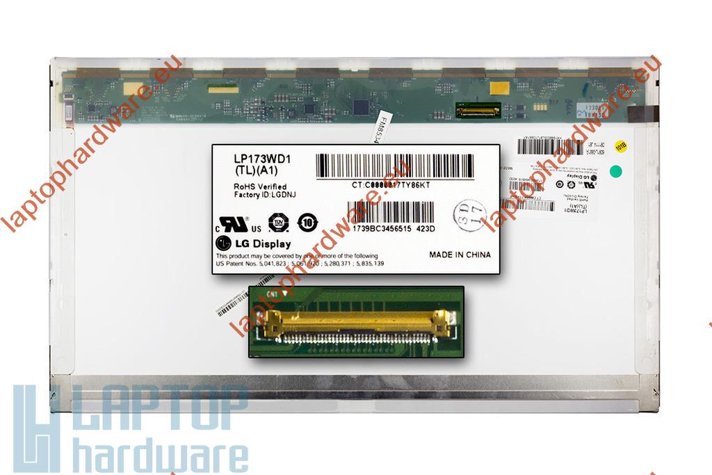 LG LP173WD1-TLA1 WXGA++ 1600x900 C kategóriás használt fényes laptop kijelző