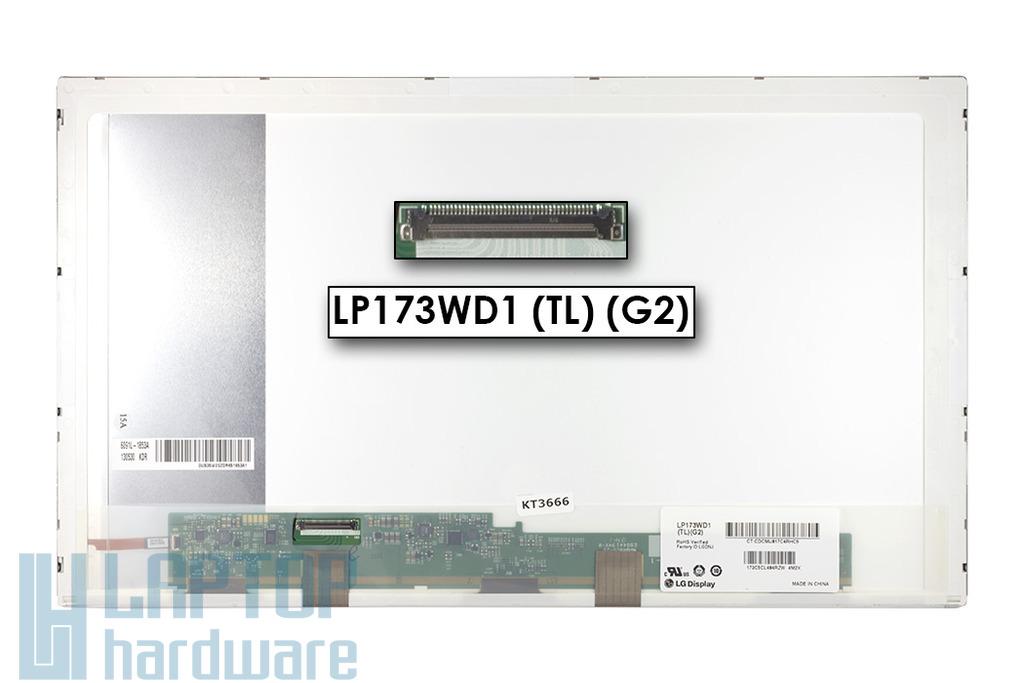 LG LP173WD1-TLG2 1600x900 HD+ használt fényes laptop kijelző