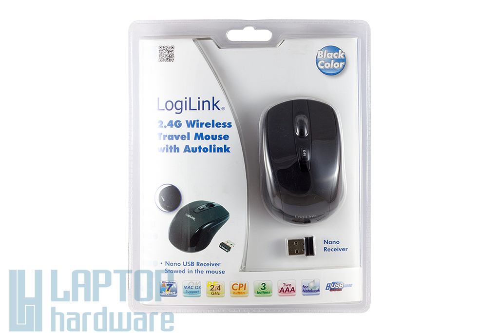 LogiLink kis méretű vezeték nélküli fekete optikai egér (állítható DPI: 800/1600) (ID0031)