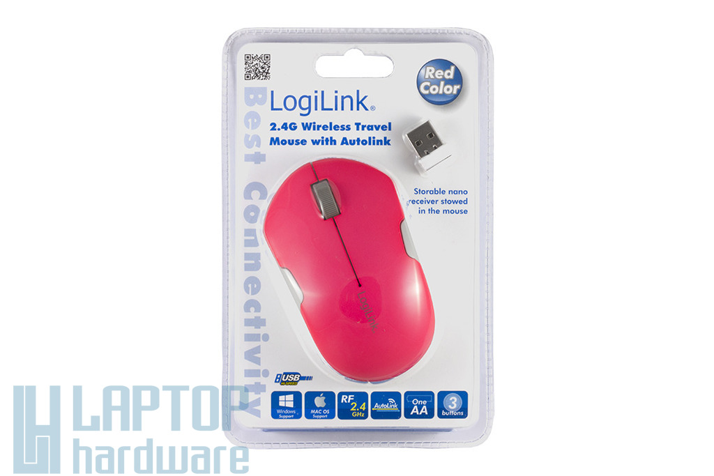 LogiLink USB-s rózsaszín optikai egér, ID0121 v.1.0 Vezeték nélküli
