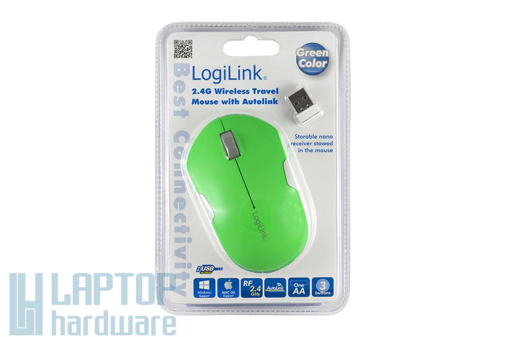 LogiLink USB-s zöld optikai egér, ID0123 v.1.0 Vezeték nélküli