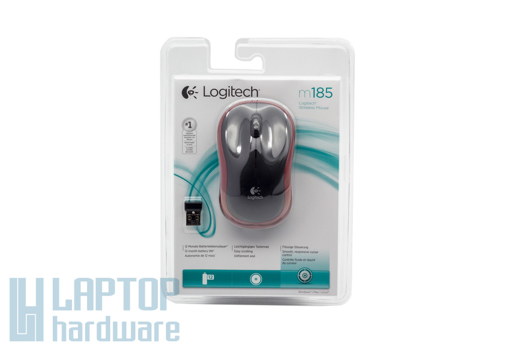 Logitech m185 USB piros optikai vezeték nélküli egér (910-002240)