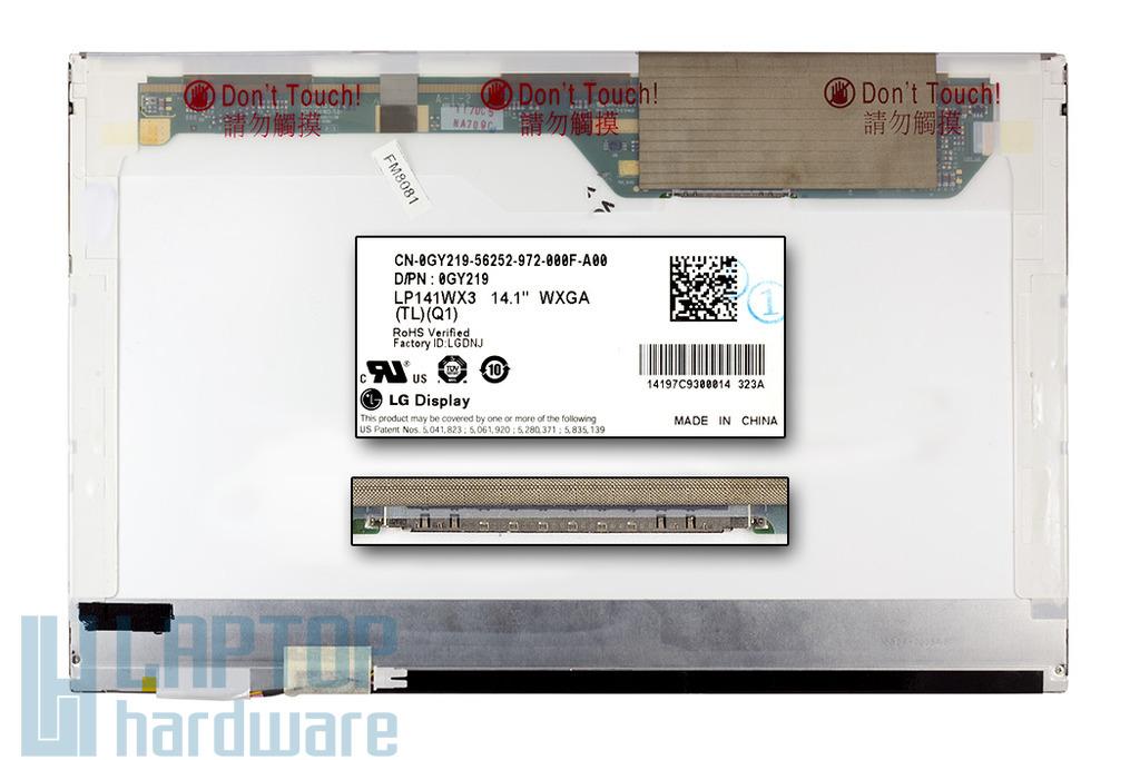LG LP141WX3-TLQ1 WXGA 1280x800 CCFL használt fényes laptop kijelző.