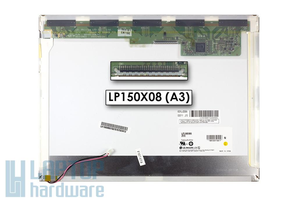LG LP150X08-A3 XGA 1024x768 használt matt laptop kijelző