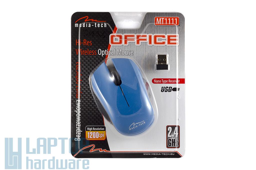 Media Tech Office vezeték nélküli USB kék optikai egér, MT1111