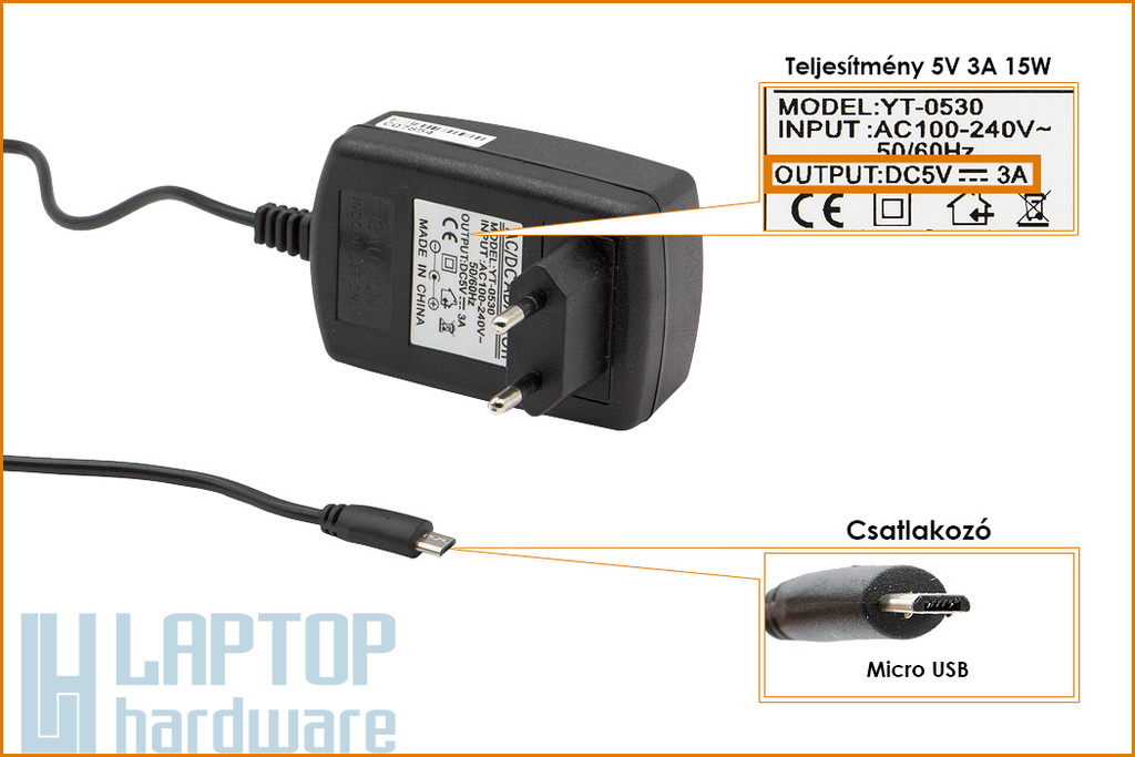 Micro USB 5V 3A 15W helyettesítő új tablet töltő (YT-0530)