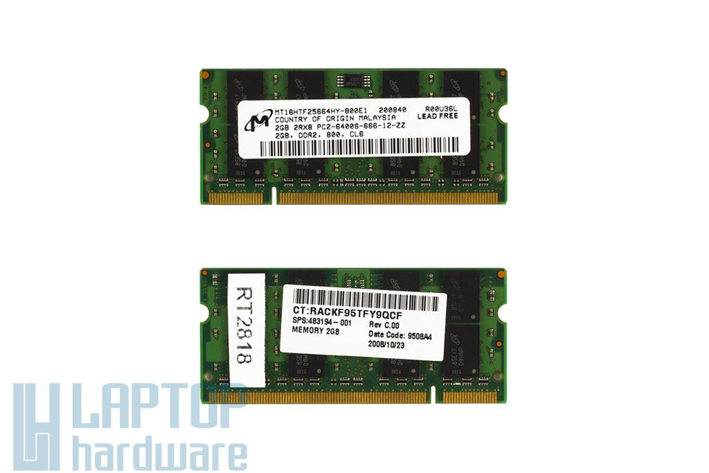 Micron 2GB DDR2 800MHz használt memória HP laptopokhoz