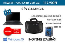 HP 250 G3 | 2,16GHz | 4GB RAM | 120GB SSD | WIFI | BlueTooth | HDMI | Windows 8.1 | 2 év garancia! | Ajándék HP táska és HP egér!