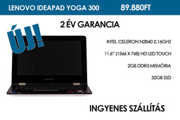 Lenovo Ideapad Yoga 300 | Intel Celeron N2840 | 2GB DDR3 RAM | 32GB SSD | WIFI | Bluetooth | HDMI | Webkamera | Windows 8.1 | 2 év garancia!