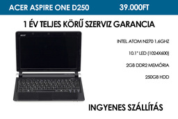 Acer Aspire One D250 használt netbook | Intel Atom N270 1,6GHz | 2GB RAM | 250GB HDD | WiFi | Bluetooth | Webkamera