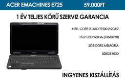 Acer eMachines E725 használt notebook | Intel Core 2 Duo T7500 2,2GHz | 2GB RAM | 320GB HDD | WiFi | Webkamera