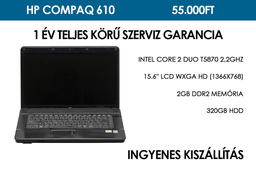 HP Compaq 610 használt laptop | Intel Core 2 Duo T5870 2,2GHz | 2GB RAM | 320GB HDD | WiFi | Bluetooth | Webkamera