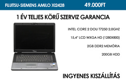 Fujitsu-Siemens Amilo Xi2428 használt notebook | Intel Core 2 Duo T7250 2,0GHz | 2GB RAM | 200GB HDD | WiFi | Bluetooth | Webkamera