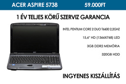 Acer Aspire 5738 használt laptop | Intel Pentium Core 2 Duo T6600 2,2GHz | 3GB RAM | 320GB HDD | WIFI | Webkamera