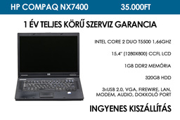 HP Compaq NX7400 használt notebook | Intel Core 2 Duo T5500 1,66GHz | 1GB RAM | 320GB HDD | WiFi | Bluetooth