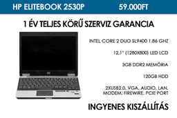 HP EliteBook 2530p használt laptop | Intel Core 2 Duo SL9400 1.86 GHz | 3GB RAM | 120 GB HDD | Wifi | Bluetooth