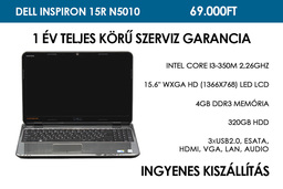 Dell Inspiron 15R N5010 használt notebook | Intel Core i3-350M 2,26GHz | 4GB RAM | 320GB HDD | WiFi | Webkamera
