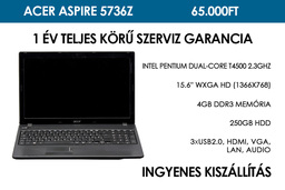 Acer Aspire 5736z használt notebook | Intel Pentium Dual-Core T4500 2.3GHz | 4GB RAM | 250GB HDD | WiFi | Webkamera