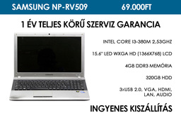 Samsung NP-RV509 használt notebook | Intel Core i3-380M 2,53GHz | 4GB RAM | 320GB HDD | WiFi | Bluetooth | Webkamera