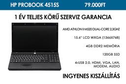 HP ProBook 4515s használt notebook | AMD Athlon II M520 Dual-Core 2.3GHz | 4GB RAM | 120 GB SSD | WiFi | Webkamera