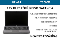HP 625 használt notebook | AMD Athlon II P320 Dual-Core 2.1GHz | 4GB RAM | 120 GB SSD | WiFi | Webkamera | Bluetooth
