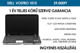 Dell  Vostro 1015 használt laptop | Intel Core 2 Duo T6570 2,1GHz | 4GB RAM | 320GB HDD | WIFI | FireWire | Webkamera