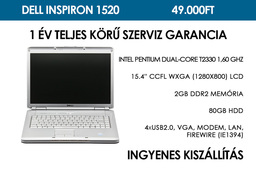 Dell Inspiron 1520 használt laptop | Intel Pentium Dual-Core T2330 1,60 GHz | 2GB RAM | 80GB HDD | WIFI | Bluetooth | FireWire