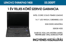 Lenovo ThinkPad T400 használt notebook | Intel Core 2 Duo P8400 2,26GHz | 3GB RAM | 320GB HDD | WiFi | Bluetooth | FireWire | Ujjlenyomat olvasó