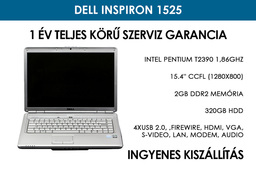 Dell Inspiron 1525 használt laptop | Intel Pentium T2390 1,86 GHz | 2GB RAM | 320GB HDD | WiFi | Bluetooth | Kártyaolvasó | FireWire | Kamera