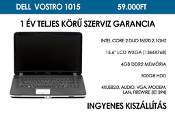 Dell  Vostro 1015 használt laptop | Intel Core 2 Duo T6570 2,1GHz | 4GB RAM | 500GB HDD | WIFI | FireWire | Webkamera