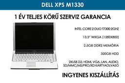 Dell XPS M1330 használt laptop | Intel Core 2 Duo T7300 2GHz | 320GB HDD | 2.5GB RAM | WiFi | FireWire