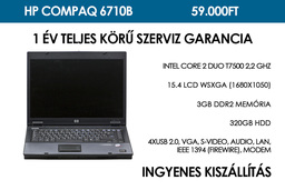 HP Compaq 6710b használt notebook | Intel Core 2 Duo T7500 2.2 GHz | 3GB RAM | 320GB HDD | WiFi | Bluetooth | FireWire | Jó Akku