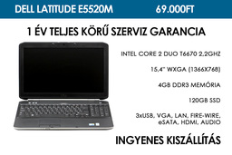 Dell Latitude E5520m használt laptop | Intel Core 2 Duo T6670 2.2GHz | 4GB RAM | 120GB SSD | Wi-FI | Bluetooth