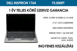 Dell Inspiron 1764 használt notebook | Intel Core i3-330M 2.13 GHz | 4GB RAM | 500GB HDD + 64 GB SSD | WiFi | Webkamera