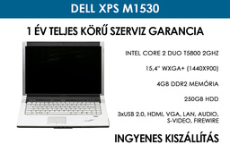 Dell XPS M1530 használt laptop | Intel Core 2 Duo T5800 2GHz | 250GB HDD | 4GB RAM | WiFi | FireWire