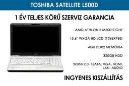 Toshiba Satellite L500D használt laptop | AMD Athlon II M300 2 GHz | 4GB RAM | 320GB HDD | Wifi