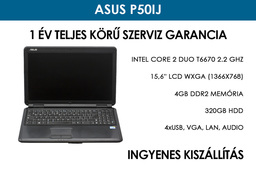 Asus P50IJ használt laptop | Intel Core 2 Duo T6670 2.2 Ghz | 4GB RAM | 320GB HDD | Wifi | Webkamera