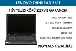 Lenovo ThinkPad R61i használt laptop | Intel Pentium T2330 | 3GB RAM | 250GB HDD | Wi-Fi