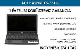 Acer Aspire E5-551G használt notebook | AMD A10-7300 | 8GB RAM | 500GB HDD | WiFi | BlueTooth | HD Webkamera | Windows 10